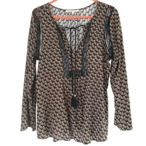 DANIEL RAINN | Tan & black boho peasant owl blouse